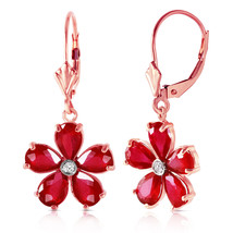 14K Solid Rose Gold Leverback Earrings withRubies & Diamonds - $561.35