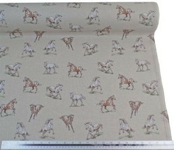 Wild Horses Stallions Beige Linen Look High Quality Fabric Material 3 Sizes - $2.90+