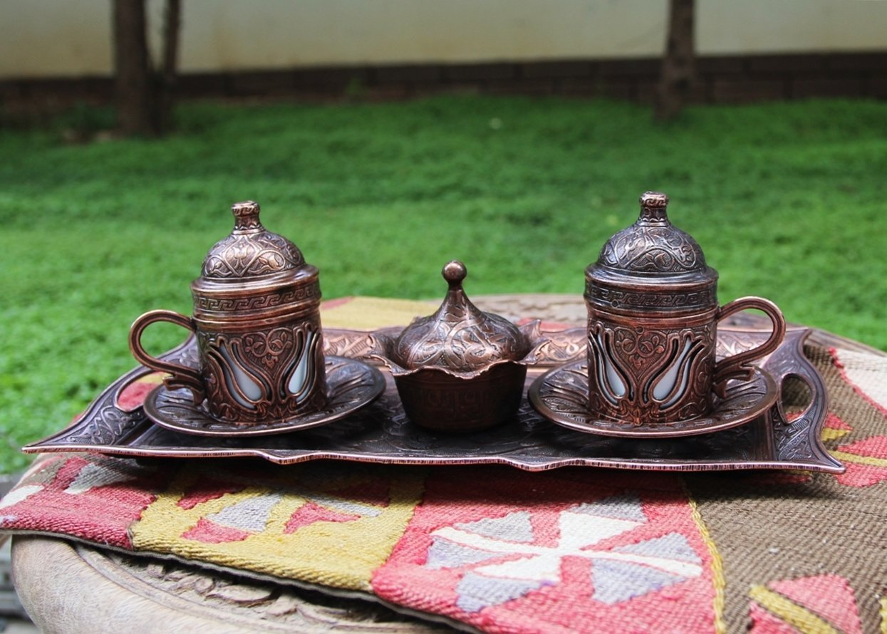 Copper Turkish Coffee Set for Two, Express Shipping, Turkish Coffee Set, Turkish