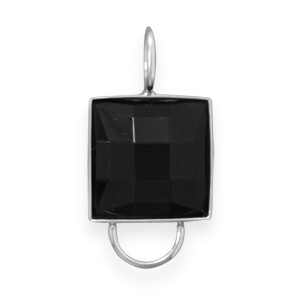 Primary image for Faceted Black Acrylic Charm Holder Pendant
