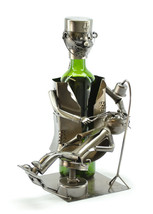 Wine Bodies Dentist w/ Small Patient Wine Bottle Holder Caddy Quirky Decor - $27.83