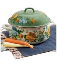 2X The Pioneer Woman 4 QT Dutch Oven Rose Shadow With Lid Floral Enamel ... - $91.99
