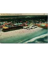 Vtg Linen Postcard Air View of Folly Beach Near Charlston South Carolina... - $19.95