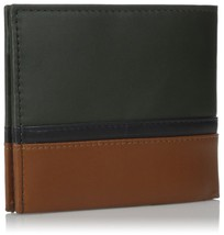 NEW TOMMY HILFIGER MEN'S PREMIUM LEATHER DOUBLE BILLFOLD WALLET OLIVE 31TL13X041 image 2