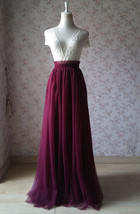 BURGUNDY Wedding Full Long Tulle Skirt Burgundy Wine Red Bridesmaid Outfit Plus image 2
