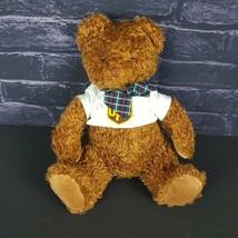 "Melissa & Doug 12"" Plush Teddy Bear Brown Stuffed Animal UPS Shirt Plaid Bow - $17.81"