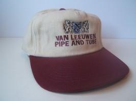 Van Leeuwen Pipe And Tube Hat Beige Burgundy Hook Loop Baseball Cap - $15.05