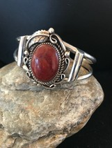 Navajo Native American Sterling Silver Apple Coral Bracelet J Platero 12... - $419.91