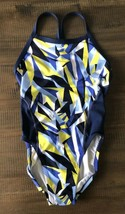 NIKE Performance Women's Racerback 1 Piece Swimsuit Multi Blue Yellow 28... - $29.67