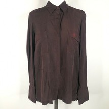 NEW Hannes Roether Blouse Shirt Top Womens XS Smoke Red Burgundy Button ... - $70.13