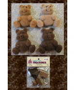 Miniature Flocked Teddy Bears Flat Back Set 4 New 1997 Vintage Brown Cra... - $8.99