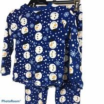 The Children's Place  Snowman Boy/ girl Fleece 2 Piece Top/bottom Sz S 6-8 Multi - $9.80