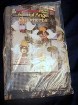 New Animal Angel Ornaments Plastic Canvas Kit Cat Bear Bunny Puppy Hwb - $13.99