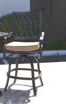 "Outdoor bar set 7 piece cast aluminum furniture Grand Tuscany 60"" round table image 4"