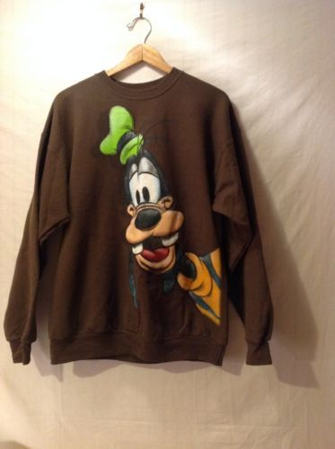 Disneyland Brown Goofy Sweatshirt, Size Large