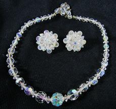 Vintage Arora Borealis Crystal Necklace Earrings Clip Set - $12.38