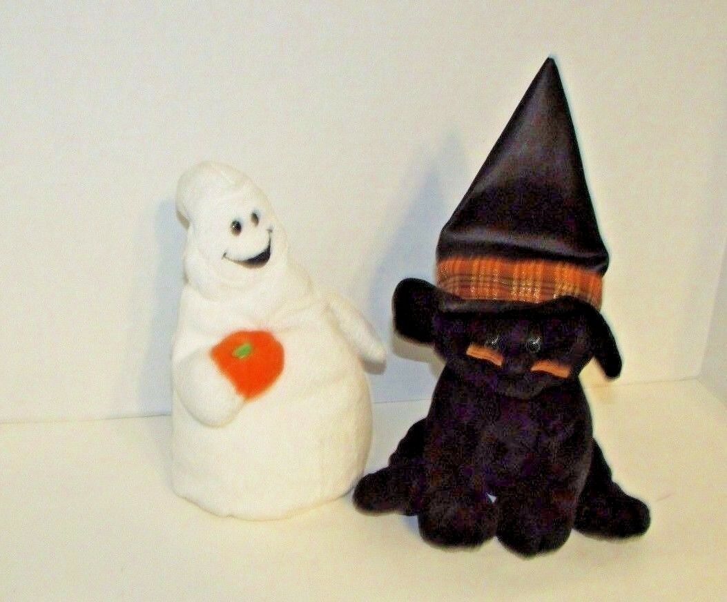 Primary image for Ty Pluffies Halloween lot Shudder Ghost pumpkin Merlin Black Cat witch hat plush