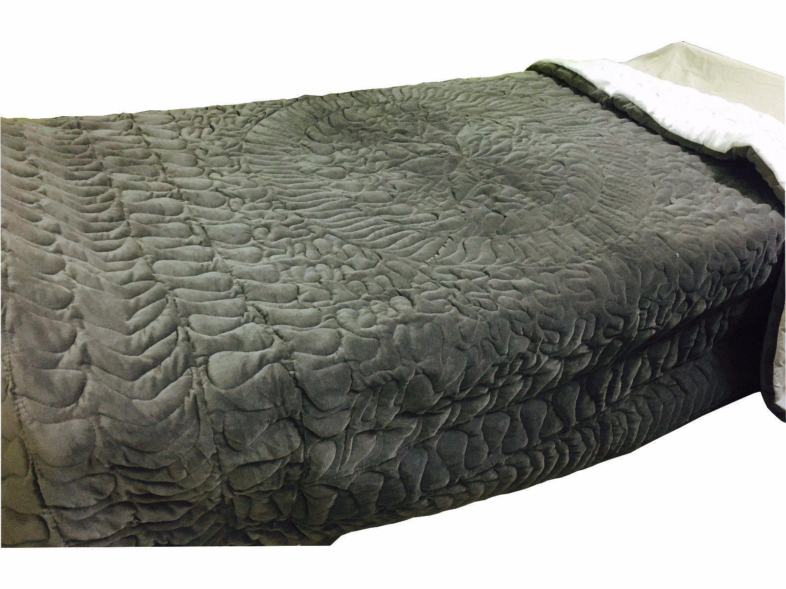 SPRING SALE - Handmade 100% Cotton Velvet Quilt - Ash Gray/Silver King size    - $247.49