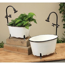 2/SeT Metal Bathtub Containers ~ Farmhouse Containers Plants / Towels - $69.95