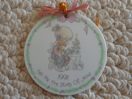 Precious Moments Ceramic 1991 Christmas Ornament (#1826)  - $8.99