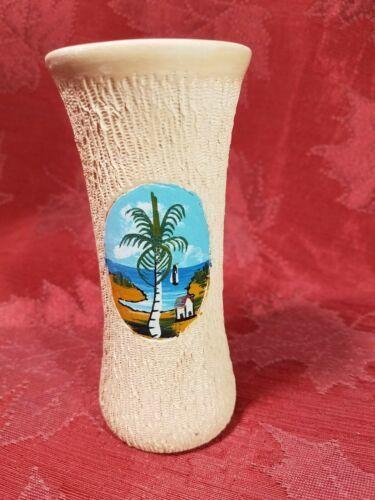 "VINTAGE HAND PAINTED BEACH SCENE ON A HAND TURNED CLAY VASE JAMAICA 5"""