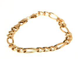Men's 14k Yellow Gold Figaro Chain Bracelet - 14k Solid Yellow Gold - B1055 - $1,209.60