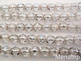 25 6 mm Czech Glass Firepolish Beads: Crystal - Silver Lined - $1.65