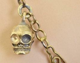 Rare antique 19th Century Victorian 14k gold Memento Mori 5 Skulls brace... - $1,190.00
