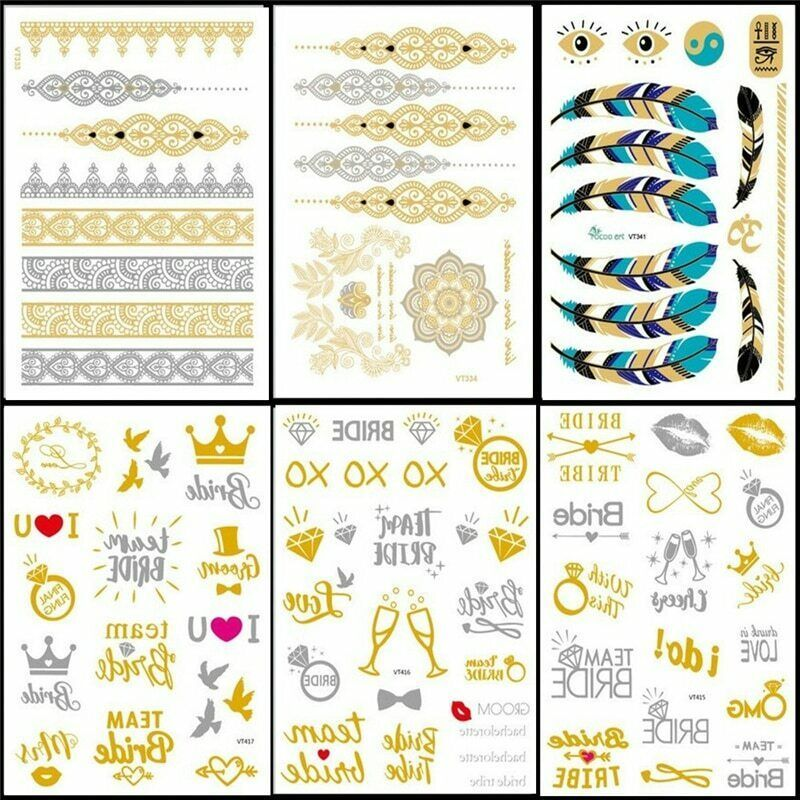 Primary image for Design Tattoo 6PCS/set Flash Metallic Waterproof Temporary Tattoo Paperboard