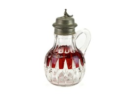 Greensburg Corona Ruby Stained Syrup w Bird Finale, Antique EAPG Sunk Ho... - $73.50
