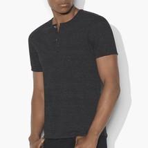 John Varvatos Star USA Men's Short Sleeve 4 Button Crew Henley Shirt Bla... - $49.77