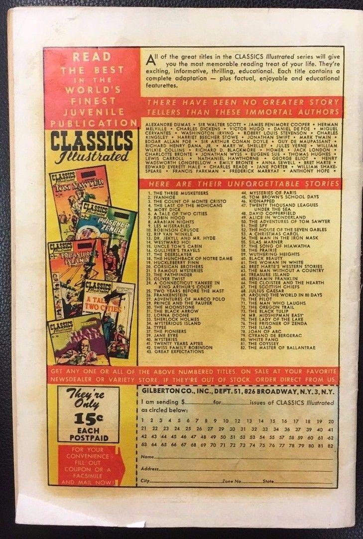 CLASSICS ILLUSTRATED #82 The Master of Ballantrae (HRN 82) 1951 VG+/FINE- 1st