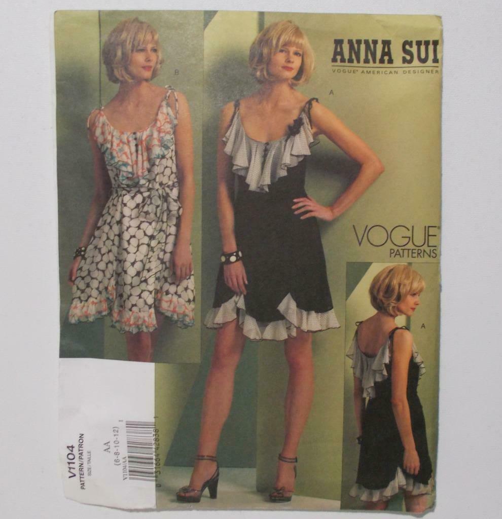 Vogue American Designers Anna Sui V 1104 Dress Pattern Size AA 6-12 Uncut