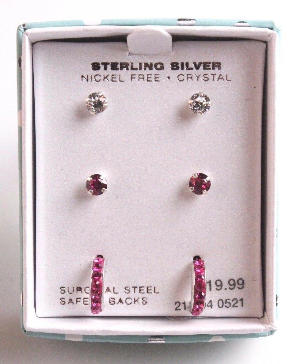 Girls Sterling Silver 925 Pink Clear Crystal Hoop Post Stud Earrings New in Box