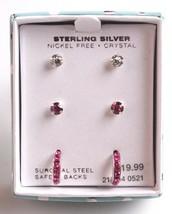Girls Sterling Silver 925 Pink Clear Crystal Hoop Post Stud Earrings New in Box image 1