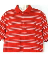 Adidas Pure Motion Golf Polo Shirt Men Size L Red White Striped Short Sl... - $19.78