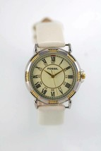 Fossil Watch Men White Leather Stainless Steel Silver Gold Battery Beige... - $35.26