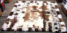 White, brown Babyalpaca fur rug, dark spots, 200 x 220 cm/ 6'56 x 7'21 ft - $1,216.00