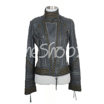 New Woman Haute Hippie Gray Full Metal Gold Brass Studded Designed Biker Jacket - $329.99