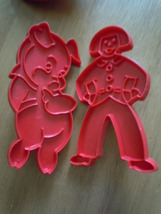 Vintage 1970's Tupperware Red Plastic Gingerbread Boy & Little Pig Cookie Cutter - $9.99