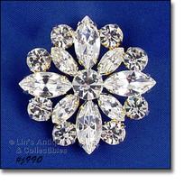 Signed Eisenberg Ice Clear Rhinestones Pin Wedding Brooch (#J990)  - $60.00