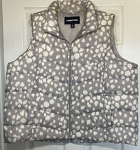 Land's End Women's Down Puffer Vest Gray and White Leopard Print Sz 2X (... - $20.00
