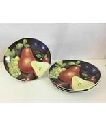 Set 4 Furio Eden Fruit Pear Grape Plumb Oval Salad Dessert Plates 8 3/8 ... - $26.79