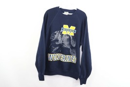 Vintage 90s Mens Large Michigan Wolverines Spell Out Crewneck Sweatshirt... - $39.55