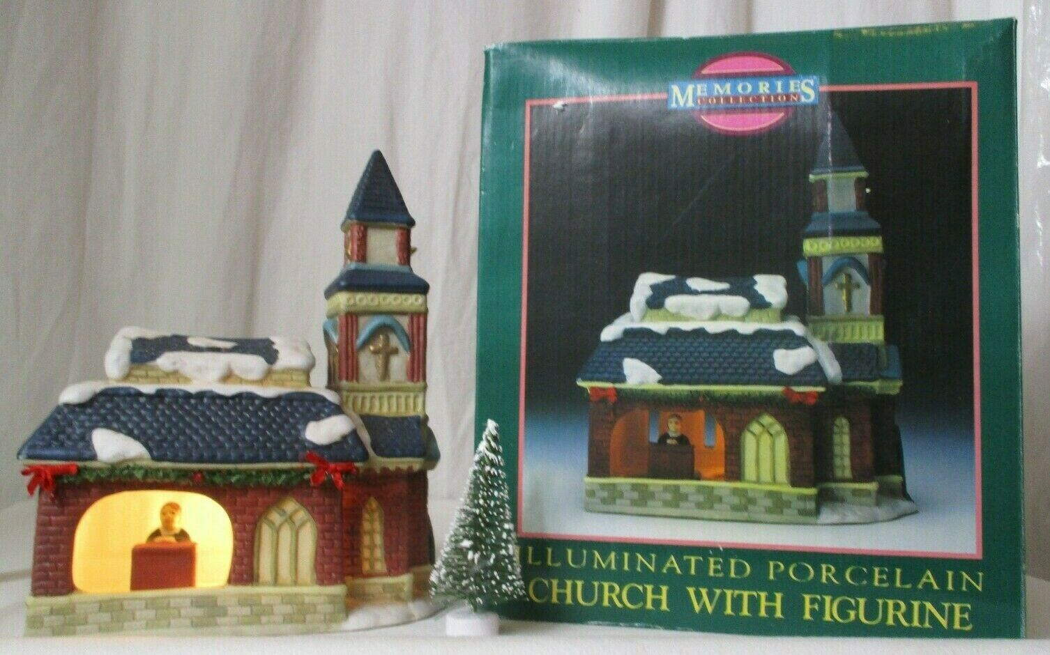 Primary image for MEMORIES COLLECTION ILLUMINATED PORCELAIN Church with Figurine