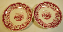 Homer Laughlin Red Currier & Ives Prints Porcelain View of New York 2 saucers - $16.63