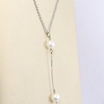 Necklace White Gold 750 18K, Pendant 2 White Pearls, Chain Rolo ' image 2