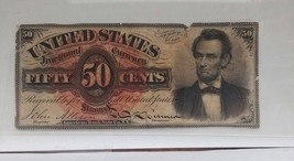 "PCGS AU 50--- FR1374. FIFTY CENT 4TH ISSUE ""LINCOLN"" FRACTIONAL - $287.00"