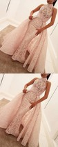 Mermaid High Neck Sweep Train Pearl Pink Lace Prom Dress with Overskirt - $199.00