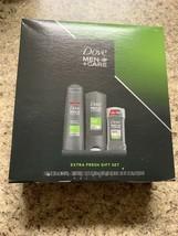 Dove Men + Care Extra Fresh 3 Piece Gift Set Shampoo Body/Face Wash Deodorant - $16.82